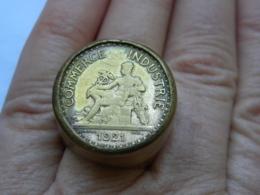 Bon Pour 1 Franc 1921 - Transformé En Chevalière (bague) Domard (graveur) - France
