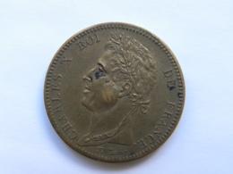 Pièce Colonies Françaises Charles X - 10 Centimes 1829A (Paris) - Impact (balle ?) Graveur Tiolier - D. 10 Centimes