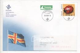 Aland N°260 Sur Lettre, Papier Gaufré, Coccinelle - Ålandinseln