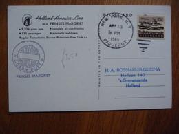 (us) Schiffpost Shipmail HOLLAND AMERICA LINE M.V PRINSES MARGRIET 1966 NEDERLAND. - Barche