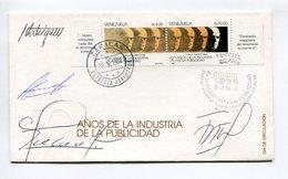 AÑOS DE LA INDUSTRIA DE LA PUBLICIDAD. SOBRE VENEZUELA AÑO 1988 OBLITERES FDC PRIMER DIA ENVELOPE - LILHU - Venezuela