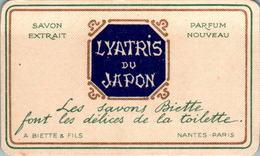 Carte Parfumée Parfum Lyatris Du Japon Savon Extrait A. Biette & Fils Nantes-Paris Dos Blanc TB.Etat - Perfume Cards