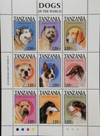Tanzania 1994 Dogs Sheet Of Nine - Tanzania (1964-...)