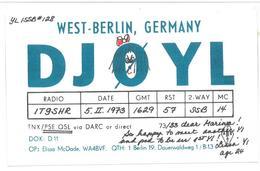 Pubblicità Cartolina Stazione West-Berlin, Germany DJØYL  Alla Stazione To Station Marina Radio IT9SHR Data 5 Febbraio 1 - CB