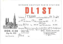 Pubblicità Cartolina Stazione München-Pasing, Germany DL1ST Alla Stazione To Station Marina Radio IT9SHR Data 27 Luglio - CB