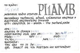 Pubblicità Cartolina Stazione Olanda PI1AMB Alla Stazione To Station Marina Radio IT9SHR Data 13 Dicembre 1973 Chiaramon - CB