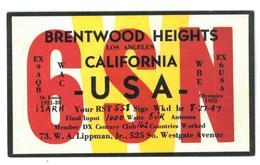 Pubblicità Cartolina Stazione CB Brentwood Heights Los Angeles California USA WBE Ex 6 USA Olympic 1932 Condizioni Come - CB