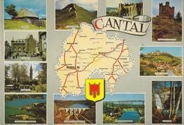 15 Carte Du Département Du Cantal Avec Divers Aspects+ (2 Scans) - Francia