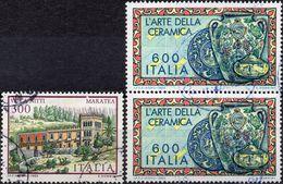 REPUBBLICA 1985 - VILLE, VILLA NITTI + LAVORO, CERAMICHE - 3 VALORI USATI - 6. 1946-.. Repubblica
