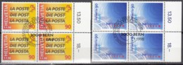 SCHWEIZ 1637-1638, 4erBlock, Gestempelt, Teilung Der Post 1998 - Blocks & Sheetlets & Panes