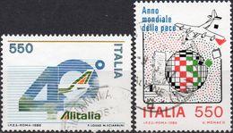 REPUBBLICA 1986 - ALITALIA + ANNO MONDIALE DELLA PACE - 2 VALORI USATI - 6. 1946-.. Repubblica