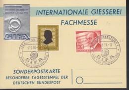 Sonderpostkarte: Intern. Giesserei Fachmesse, Mit Sonderstempel: Düsseldorf GIFA 2.9.1956, Auf BRD 234, Berlin 156, Vign - [7] Federal Republic