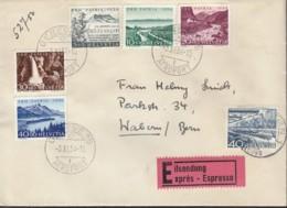 SCHWEIZ  537, 597-601 MiF, Auf Eil-Brief Mit Stempel: Geneve Aeroport 3.XI.1954 - Suisse
