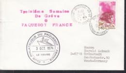 "SCHIFFSPOST  MS ""France"" Paquebot, Vaast La Hougue 3.OCT 1974 - Maritime"