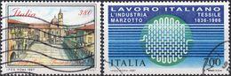 REPUBBLICA 1987 - PIAZZE, PIAZZA DEL POPOLO + LAVORO ITALIANO, INDUSTRIA TESSILE MARZOTTO - 2 VALORI USATI - 6. 1946-.. Repubblica