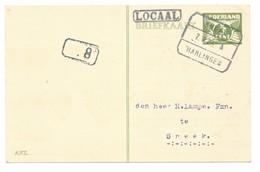 Briefkaart Per Trein Verzonden Sneek-Harlingen Met Zeldzaam Stempel LOKAAL - Period 1891-1948 (Wilhelmina)