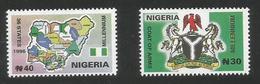 2000 Nigeria Millenium Maps Coat Of Arms Complete Set Of 4 MNH - Nigeria (1961-...)