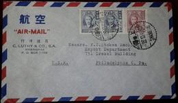 O) 1948 CHINA, SUN YAT SEN AND PLUM BLOSSOMS SCT 752 $50000-SCT 796 1000000, AIRMAIL TO PHIADELPHIA, C. LUTHY - China