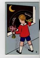 Enfant Et Lune - Carte à Système Avec Un Disque Qui Tourne - Mille Baisers - Enfants