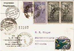 LMON3 - PREMIER VOL BRESIL - ALLEMAGNE  HINDENBURG 4/4/1936 - Posta Aerea