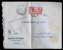 BUSTA RACCOMANDATA DA BARI X CORATO 1934 CON £1,75 DECENNALE MARCIA SU ROMA - ISOLATO - 1900-44 Vittorio Emanuele III