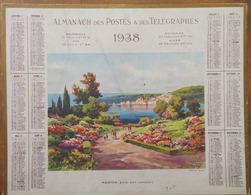 CALENDRIER- ALMANACH DES POSTES ET DES TÉLÉGRAPHES 1938- DRÔME- IMAGE: MENTON, BAIE EST (GARAVAN) - Grand Format : 1921-40