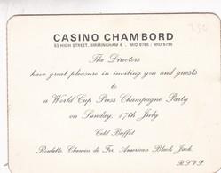 CASINO CHAMBORD INVITATION WORLD CUP PRESS PARTY CIRCA 1960s - BLEUP - Announcements
