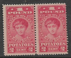 USA 1935, One Pound Potatoes, 3/4 Cents, Red, Pair, MNH * - Revenues