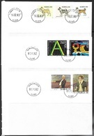 Norway  1982-3   Sc#810-3 Union & Art Sets, 816-8 Dogs Set  On 3 FDCs - FDC