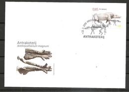 SLOVENIA 2019,FOSSIL MAMMALS OF SLOVENIA-ANTHRACOTHERE,FDC - Fossiles