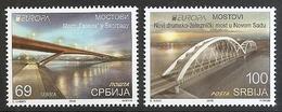 SERBIA 2018,EUROPA CEPT,BRIDGES,PONTS,BRUCKE,BEOGRAD,NOVI SAD,,MNH - Serbia
