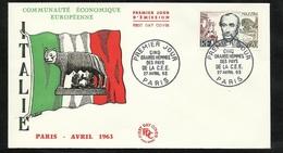 FDC  Lettre Illustrée  Premier Jour Paris Le 27/04/1963 N°1384 Mazzini Italie ...  Soldé à Moins De 20%  ! ! ! - 1960-1969