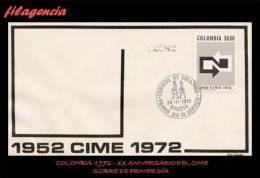AMERICA. COLOMBIA SPD-FDC. 1972 XX ANIVERSARIO DEL CIME - Colombie