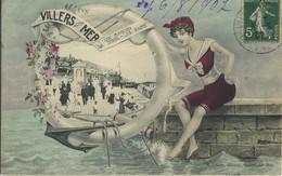 CPA 14 Villers Sur Mer Les Planches - La Digue - Les Bains 1907 Edition Leroy Carte Rare - Villers Sur Mer