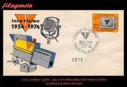 AMERICA. COLOMBIA SPD-FDC. 1974 XX ANIVERSARIO DE INRAVISIÓN - Colombie