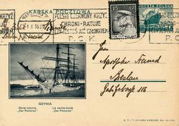 WARSZAWA - 1935 , KARTA POCZTOWA , BPK  GDYNIA  Dar Pomorza - Nach Breslau - Entiers Postaux