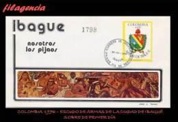 AMERICA. COLOMBIA SPD-FDC. 1976 ESCUDO DE ARMAS DE LA CIUDAD DE IBAGUÉ - Colombie