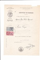 COMUNE D' AUBERVILLIERS - DEPARTEMENT DE LA SEINE - FRANCIA CERTIFICATO DI MATRIMONIO DEL 1947 CON BOLLI - Documenti Storici