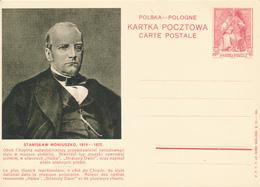 POLEN / POSKA / POLOGNE - 1938 , KARTA POCZTOWA - CARTE POSTALE , BPK  Stanislaw Moniuszko - Entiers Postaux