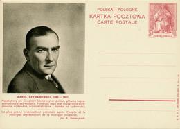 POLEN / POSKA / POLOGNE - 1938 , KARTA POCZTOWA - CARTE POSTALE , BPK  Karol Szymanowski - Entiers Postaux