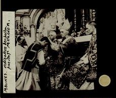 Oude Glasplaat (8.5. X 10cm) Mechelen.  MGR Kardinaal Mercier.  Priesterwijding.  -Ordination - Glasdias