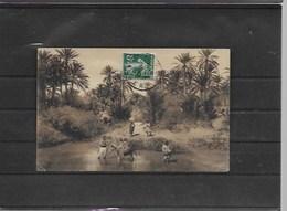 Timbre Perforé Sur Carte D Algerie Le Moulin De Chenini - Perfins