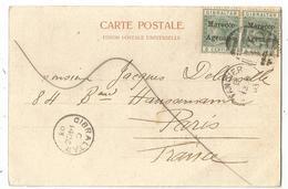 GIBRALTAR MOROCCO AGENCIES 5CX2 CARTE TANGIER 1903 + GIBRALTAR POUR PARIS - Maroc (1891-1956)