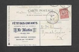 Voyage Du President LOUBET En Algerie Carte Avec Cachet Journal Le Matin Et Timbre Perforé - Perfins