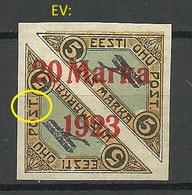 ESTLAND ESTONIA 1923 Michel 44 Bb (ziegelrot/brick Red) + ERROR ABART EV: 10 Pos L89 Signed * - Estland