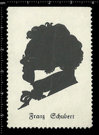Old German Poster Stamp Cinderella Reklamemarke Erinnofili Publicité Vignette Franz Schubert Composer, Silhouette, RARE - Musik