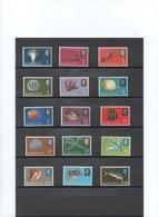 BARBADOS AÑOS 1966/69, SERIE COMPLETA DE 15 VALORES 267a/280b,  FAUNA.     MNH. - Barbados (1966-...)