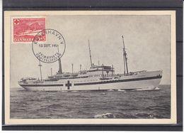 """Croix Rouge - Danemark - Carte Postale De 1951 - Oblit Kobenhavn - Bateaux Hopital """" Jutlandia """" - Carte Maximum ? - Croix-Rouge"""