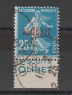 Algérie Semeuse 25c Bleu 14a Pub Biscuit Olibet Oblitéré - Algérie (1924-1962)