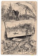 PAYSAGE    DESSIN REALISE SUR CARTE  POSTALE  ANCIENNE SIGNEE  1906 - Enghien Les Bains